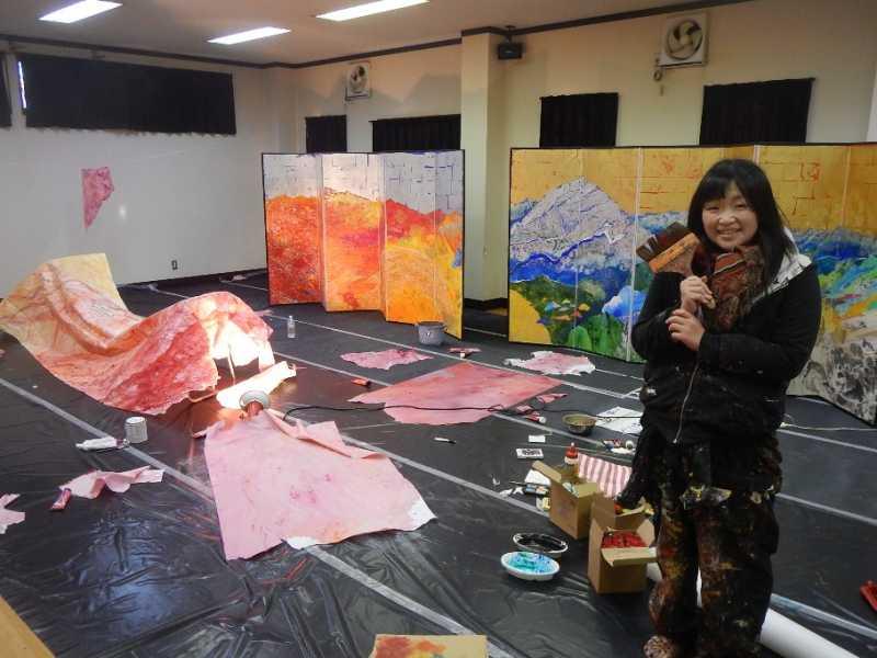 北アルプス国際芸術祭 大平由香里さん作品制作中